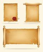 Set of old paper scrolls
