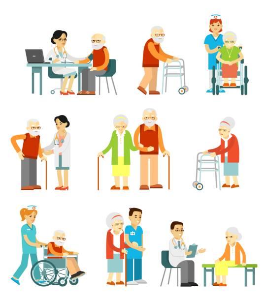 bildbanksillustrationer, clip art samt tecknat material och ikoner med uppsättning av gamla människor i olika situationer. - medelålders