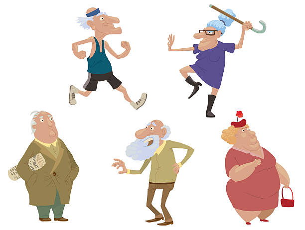 set of old people - old man standing drawings stock illustrations, clip art, cartoons, & icons