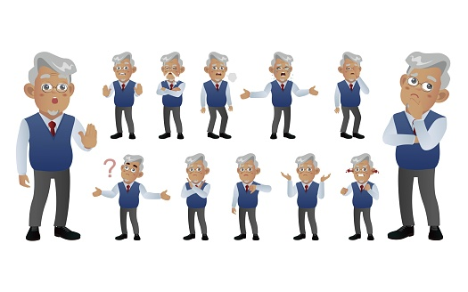 Set of old people with different poses