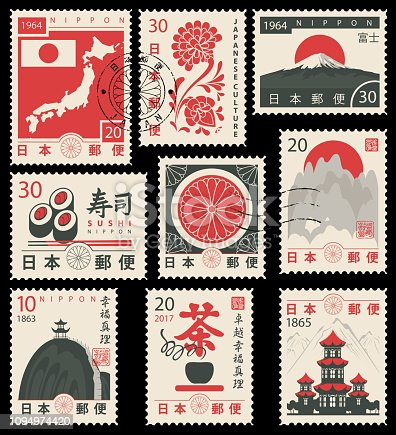 Set of vector postage stamps on the theme of Japanese culture in retro style. Hieroglyph Japan Post, Sushi, Tea, Perfection, Happiness, Truth