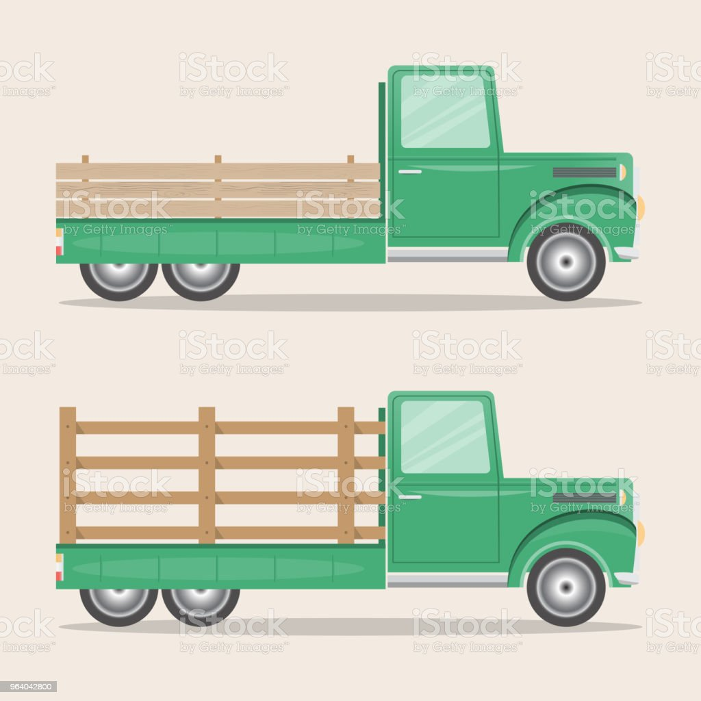 set of old retro pickup truck delivery inside farm - Royalty-free Agriculture stock vector