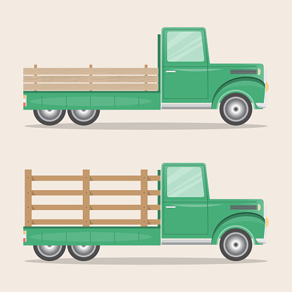 Set Of Old Retro Pickup Truck Delivery Inside Farm Stock Illustration - Download Image Now