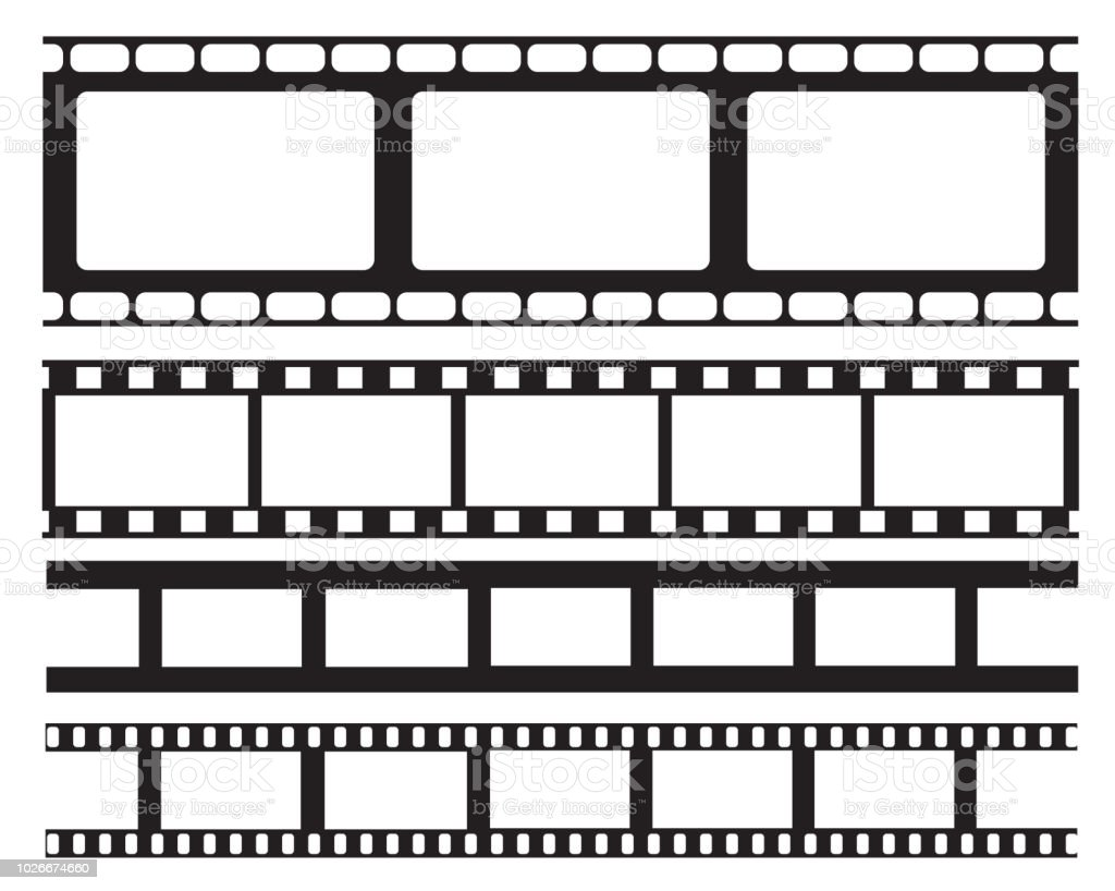 Set Of Old Retro Vntage Film Strip Frame Vector Illustrationcinema ...