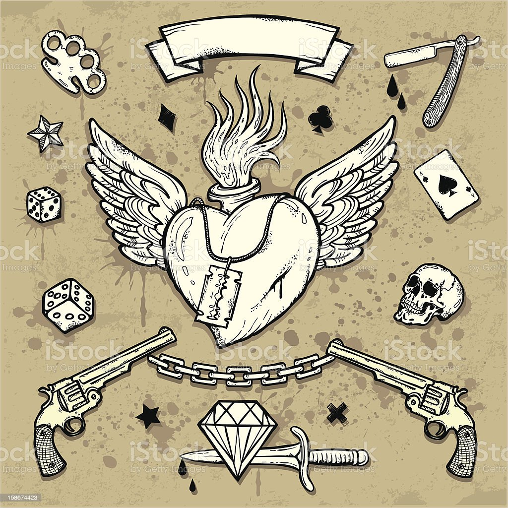 Set of Old School Tattoo Elements vector art illustration