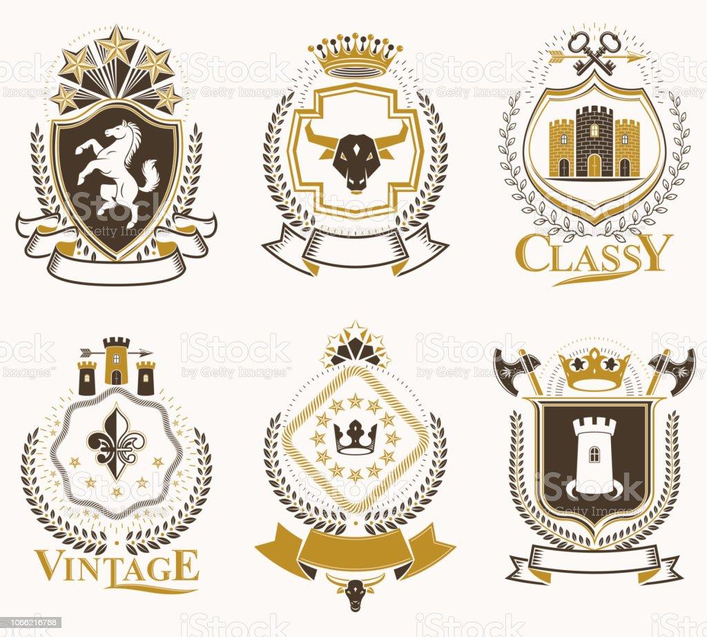 Conjunto de velho estilo emblemas de vetor de heráldica, ilustrações vintage decoradas com acessórios de monarca, Torres, estrelas pentagonais, arma e Arsenal. Brasão de armas coleção. - ilustração de arte em vetor