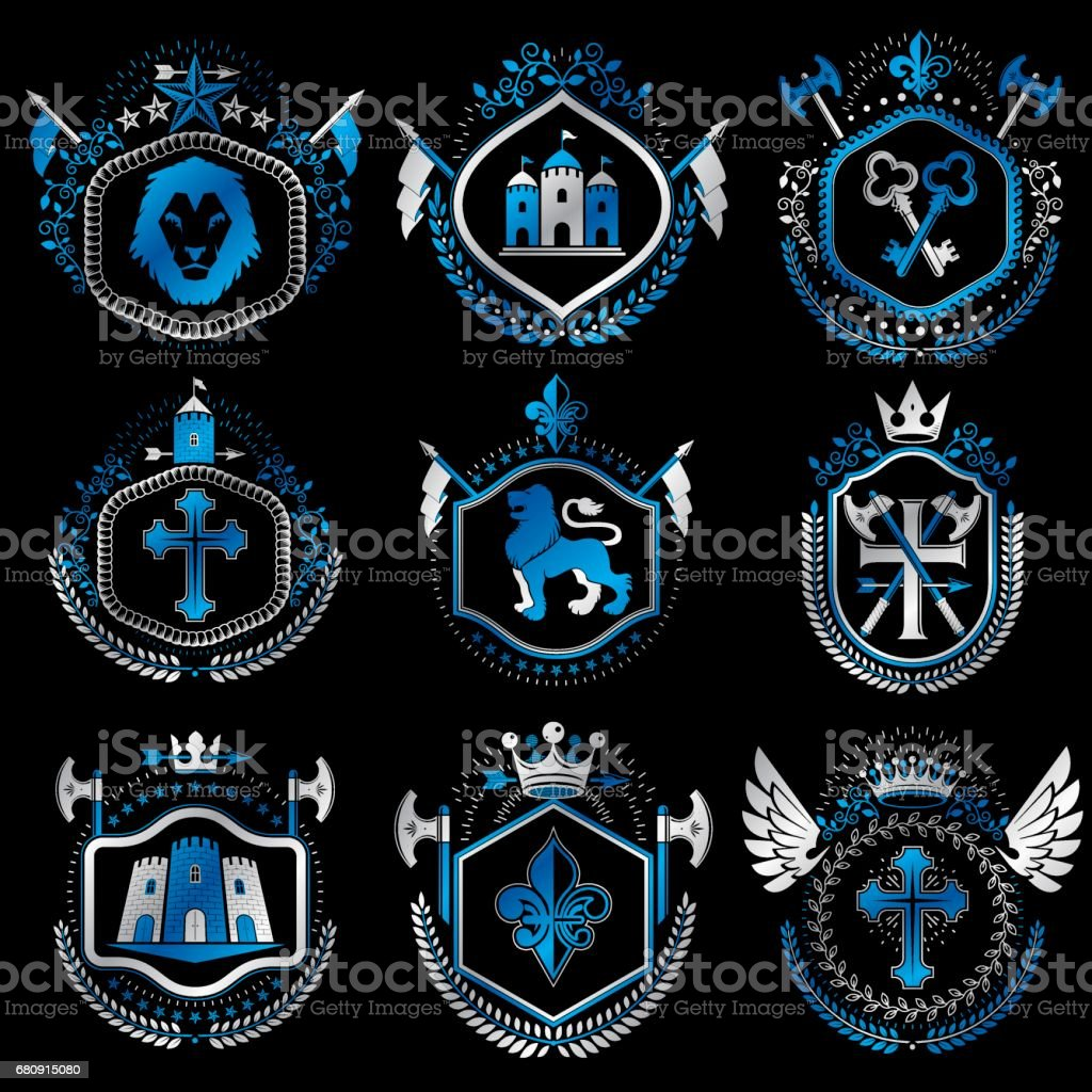 Set of old style heraldry vector emblems, vintage illustrations decorated with monarch accessories, towers, pentagonal stars, weapon and armory. Coat of Arms collection. royalty-free set of old style heraldry vector emblems vintage illustrations decorated with monarch accessories towers pentagonal stars weapon and armory coat of arms collection stock vector art & more images of animal