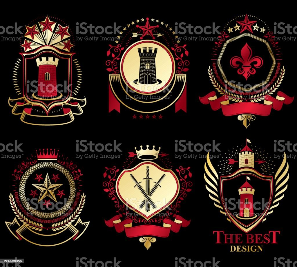 Set of old style heraldry vector emblems, vintage illustrations decorated with monarch accessories, towers, pentagonal stars, weapon and armory. Coat of Arms collection. royalty-free set of old style heraldry vector emblems vintage illustrations decorated with monarch accessories towers pentagonal stars weapon and armory coat of arms collection stock vector art & more images of armory