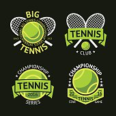 Set of old style Tennis Labels with ball and rackets
