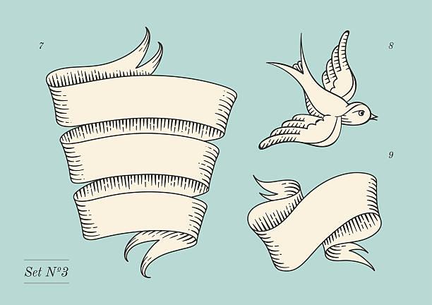 セットの古いビンテージリボンバナーや図面に刻印 - 鳥のタトゥー点のイラスト素材/クリップアート素材/マンガ素材/アイコン素材