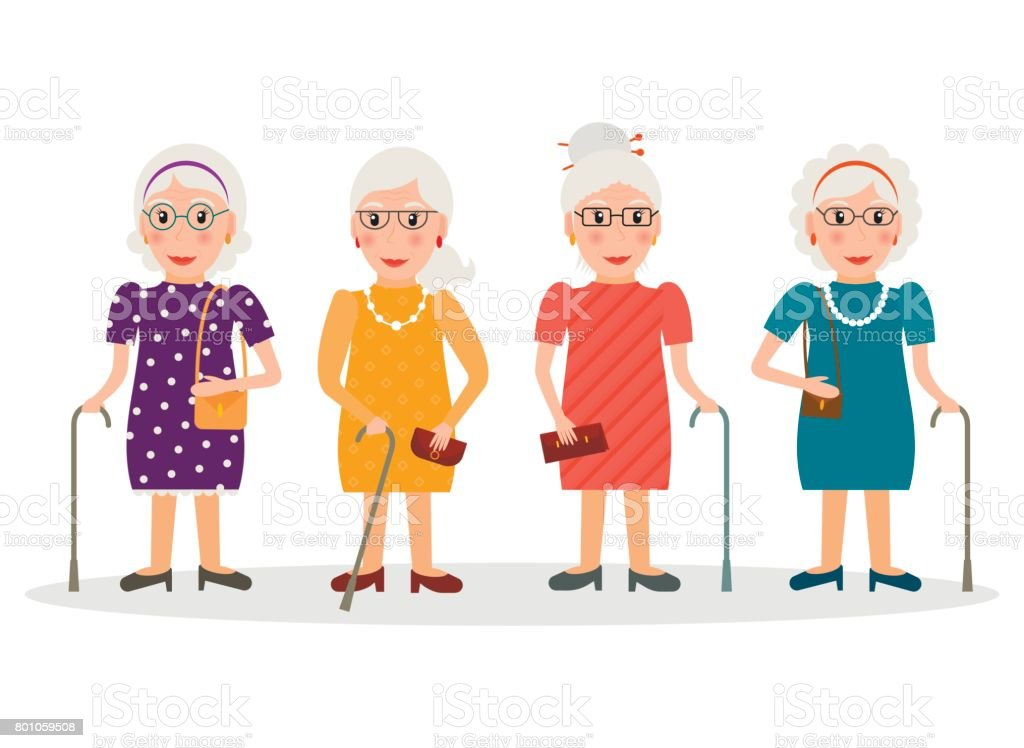 Set of old women wearing glasses and with canes in flat style. EPS10 vector collection of elderly women characters with walking sticks. vector art illustration