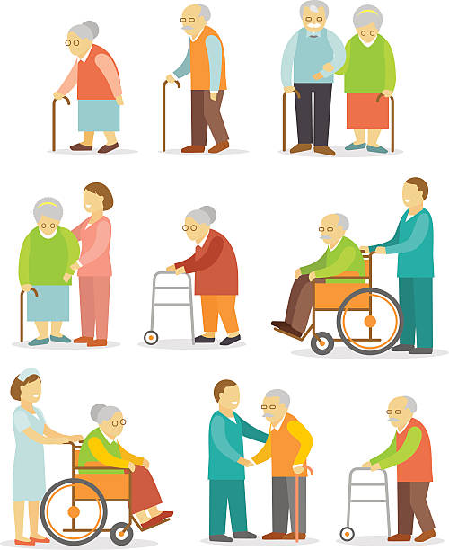 set of older people in flat style - geriatrics stock illustrations, clip art, cartoons, & icons