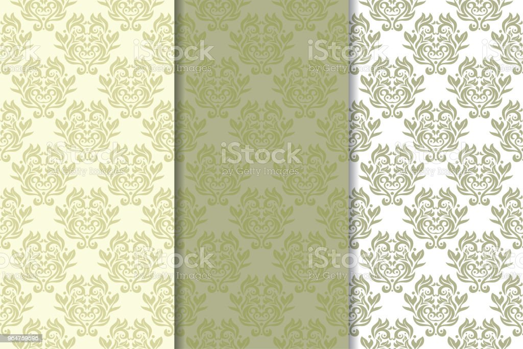 Set of  olive green floral backgrounds. Seamless patterns royalty-free set of olive green floral backgrounds seamless patterns stock vector art & more images of abstract