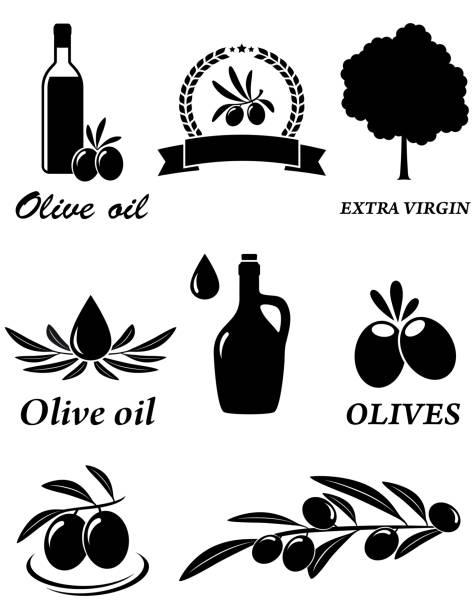 reihe von olivenbäumen icons - dressing stock-grafiken, -clipart, -cartoons und -symbole