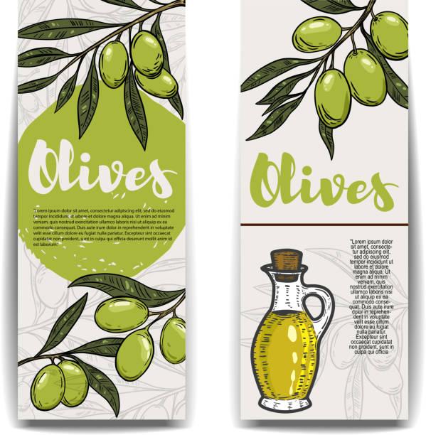 ilustrações de stock, clip art, desenhos animados e ícones de set of olive oil flyers. olive branch. - mediterranean food