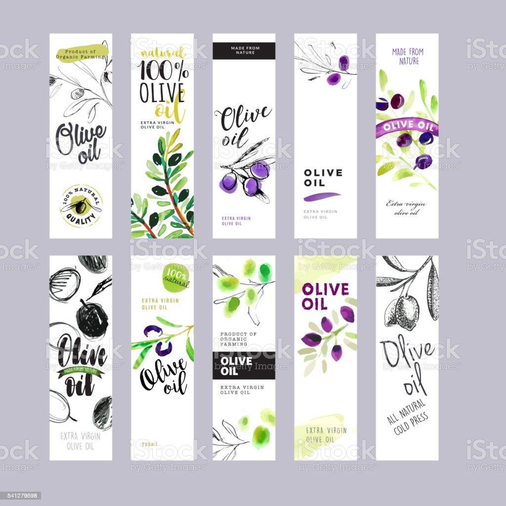 Conjunto de etiquetas de azeite de oliveira - ilustração de arte vetorial