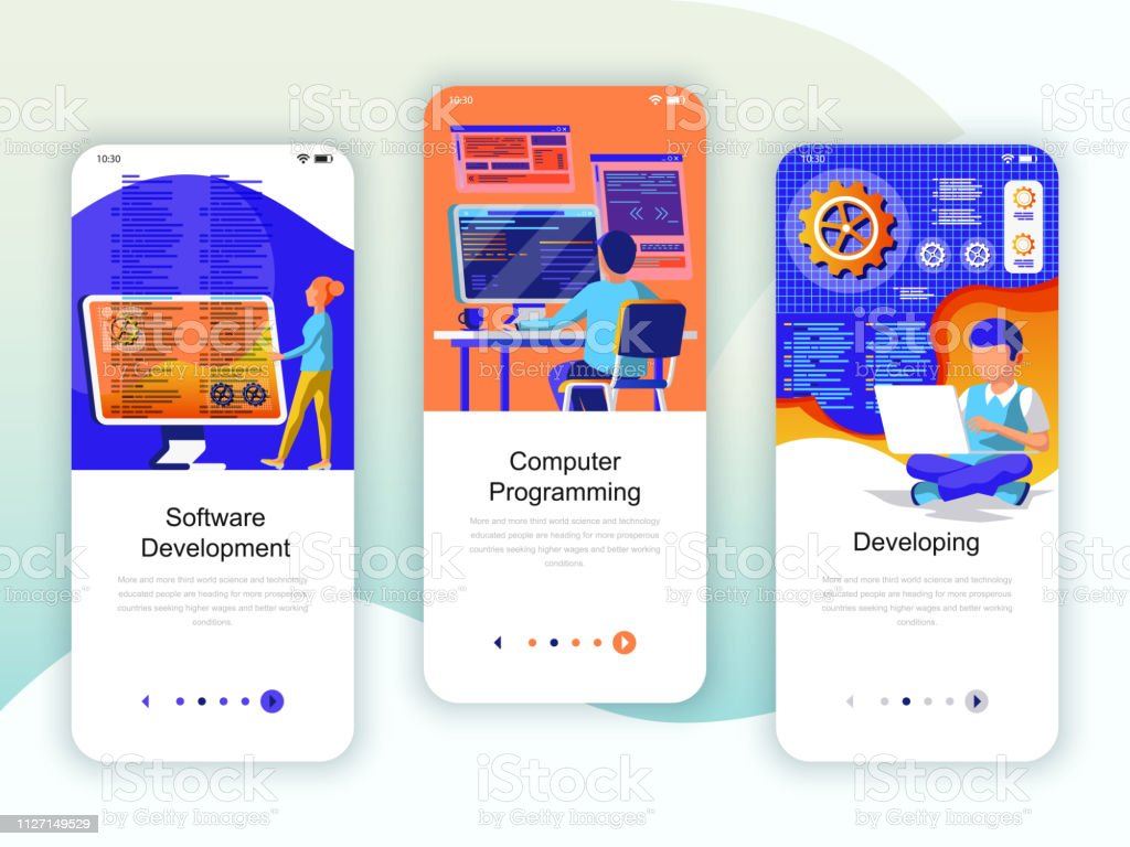 Set of onboarding screens user interface kit for Development, Programming, Developing, mobile app templates royalty-free set of onboarding screens user interface kit for development programming developing mobile app templates stock illustration - download image now