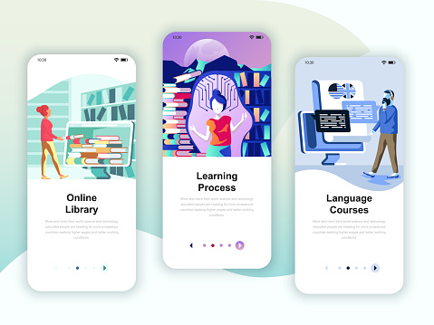 Set of onboarding screens user interface kit for Library, Learning, Language Courses, mobile app templates