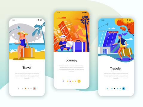 Set of onboarding screens user interface kit for Travel, Journey, Traveler, mobile app templates
