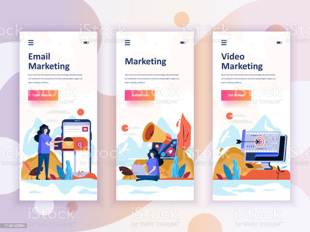 Set Of Onboarding Screens User Interface Kit For Video Email Digital