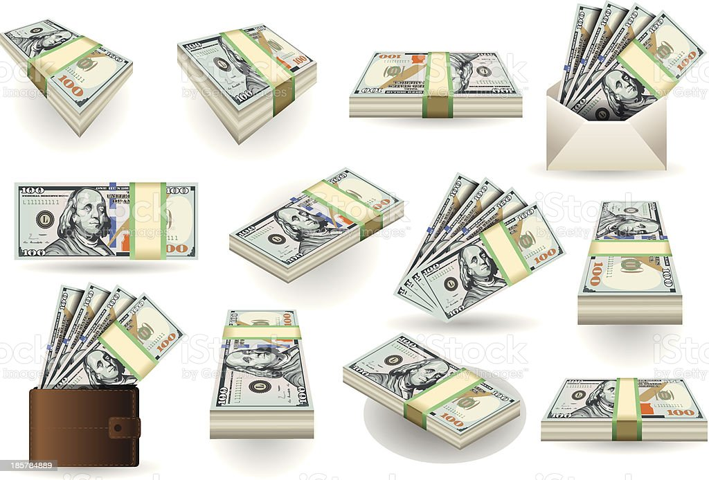 Set of One Hundred Dollars Banknotes vector art illustration