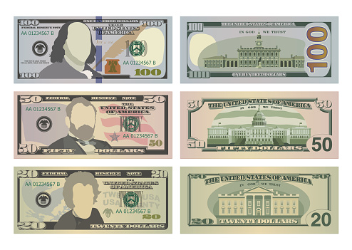 Set of one hundred dollars, fifty dollars and twenty dollar bills in new design. 100, 50 and 20 US dollars banknotes from front and reverse side. Vector illustration of USD isolated on white