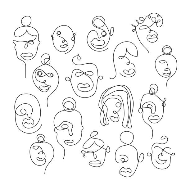 Set of one line face illustrations Set of one line face illustrations. Perfectly usable for all art projects, diversity themes. community drawings stock illustrations