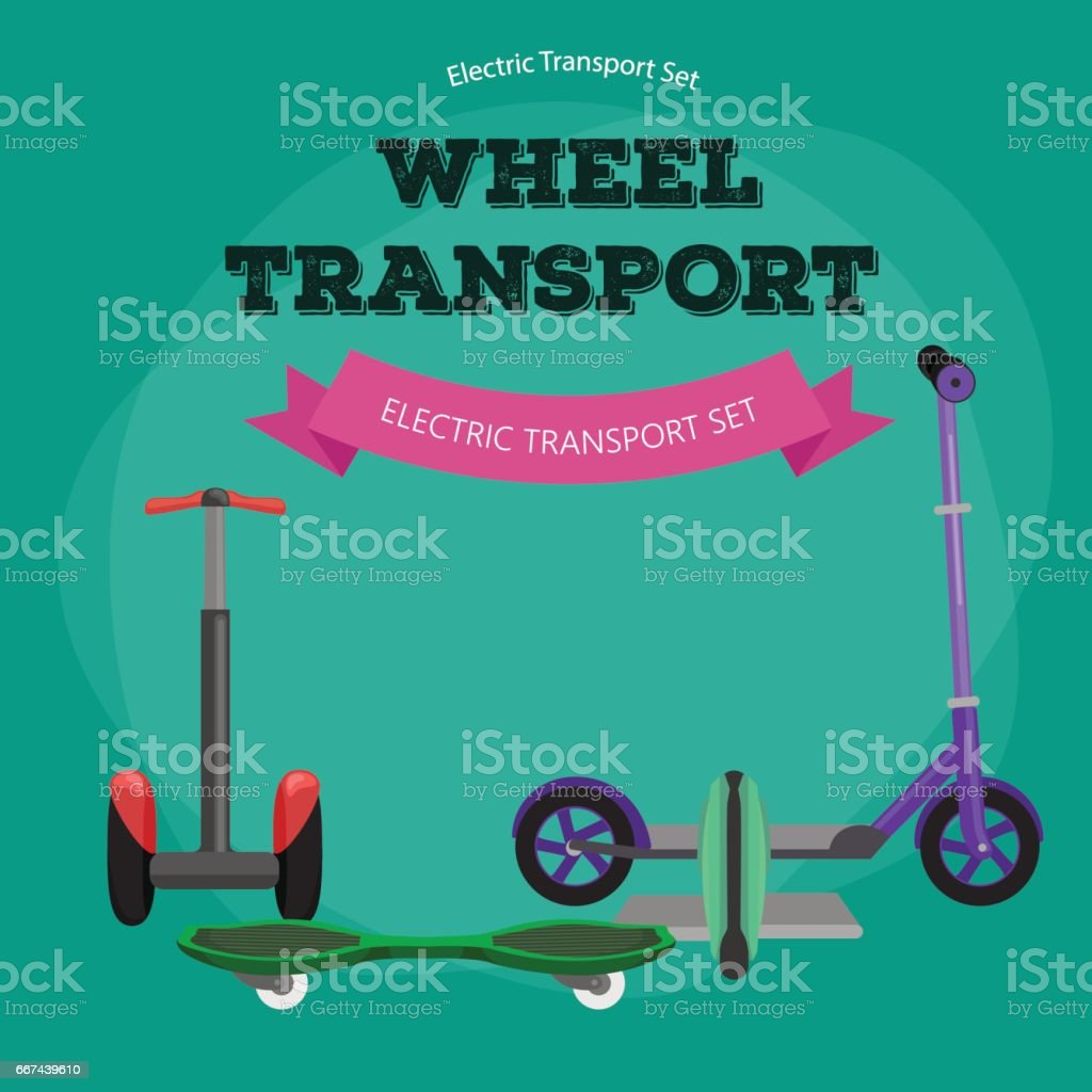 Set of one-wheeled and two- Self-balancing electric scooter vector illustrations vector art illustration