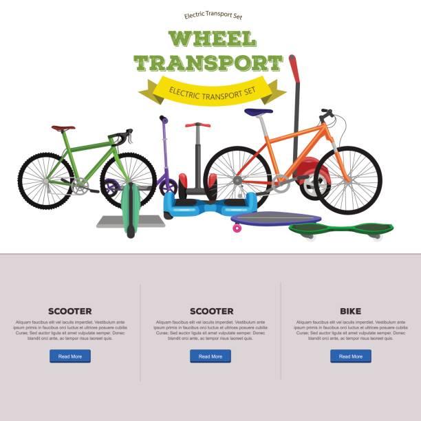 bildbanksillustrationer, clip art samt tecknat material och ikoner med uppsättning av ett hjul och två-själv-balancing electric scooter vektor illustrationer - aktiva pensionärer utflykt