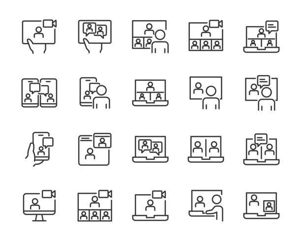set of online meeting icon, work form home, work, social distancing, video conference, content creator - group of people stock illustrations