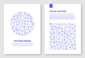 Set of Online Shopping Icons Vector Pattern Design for Brochure,Annual Report,Book Cover.