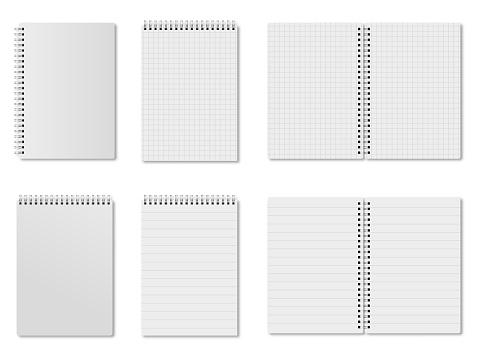 Set of open and closed block notes. Squared and lined notepads