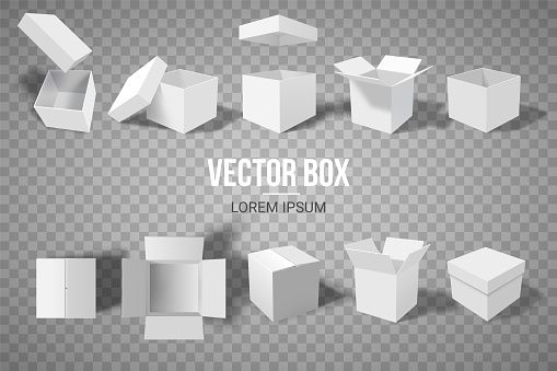 A set of open and closed boxes in different angles. Isometry in perspective. White cardboard box. Vector illustration