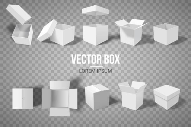 ilustrações, clipart, desenhos animados e ícones de um conjunto de caixas abertas e fechadas em ângulos diferentes. isometria em perspectiva. caixa de papelão branca. ilustração vetorial - aberto