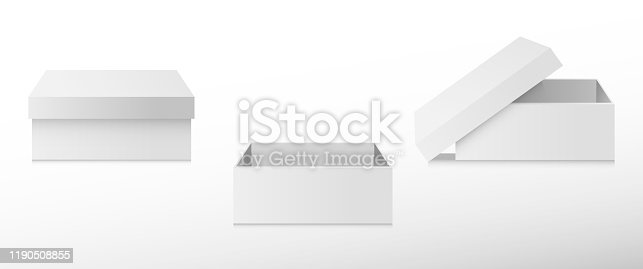 A set of open and closed boxes in different angles. White cardboard box. Vector illustration.