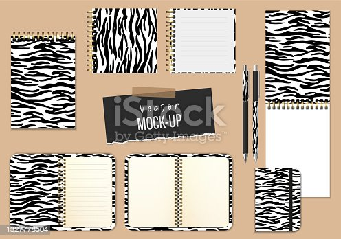 Set of open and closed notepads, organizer, diary, and pens. Zebra skin style. Vector realistic Mockup. Black and white. Different shapes and formats. EPS10