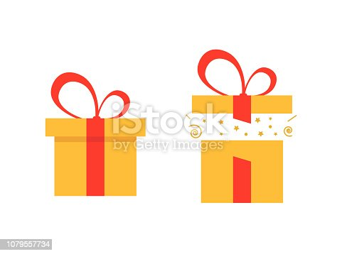 Set of open and closed present boxes. Surprise in the box. Vector illustration for wionter holidays, Christmas, New Year and happy birthday