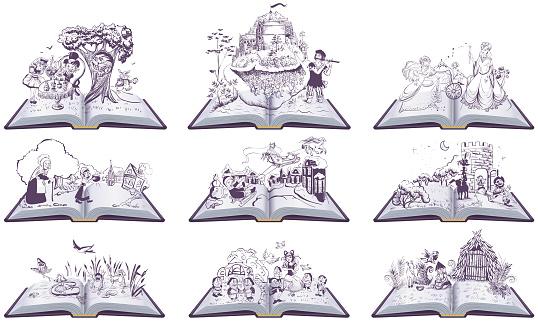 Set of open books fairy tales illustration. Cinderella, Inch, Snow Queen, Bremen Town Musicians