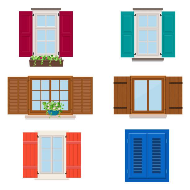 stockillustraties, clipart, cartoons en iconen met aantal geopende kleurrijke verschillende vensters met shutters en bloemen - raam