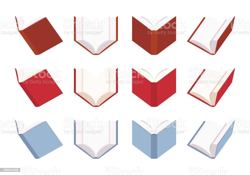 Set of open empty books in red and blue color vector art illustration