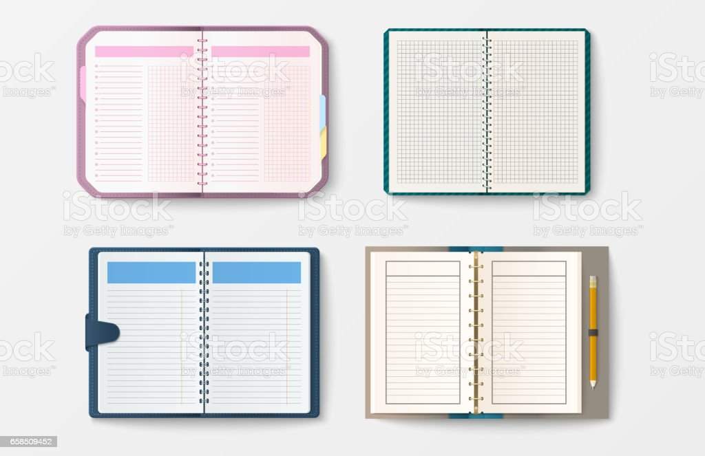 Set Of Open Realistic Notebooks With Pages Diary Office Sheet Template Booklet And Blank Paper Education