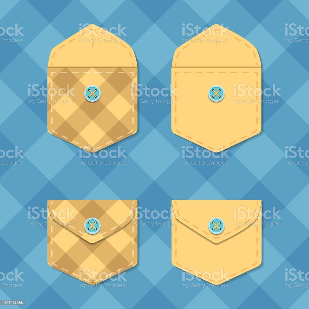 Set of opened and closed pockets. Checkered envelope template vector vector art illustration