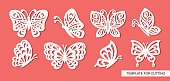 Template for laser cut, wood carving, paper cutting and printing. Vector illustration.
