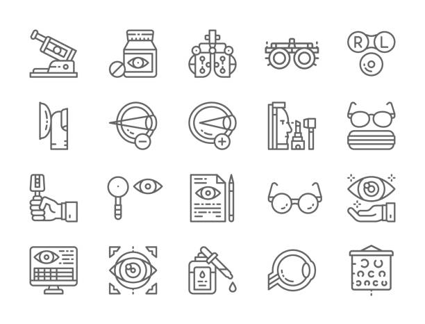 set of optometry line icons. vision correction device, vitamins, contact lenses,  eye surgery and more. - оптометрия stock illustrations