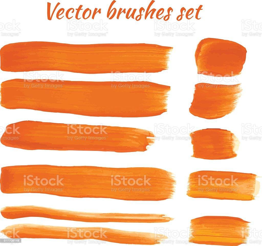 Set of orange acrylic brush vector strokes vector art illustration
