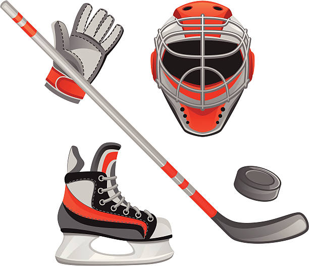 Set of orange and gray hockey illustrations Hockey equipment on a white background formal glove stock illustrations
