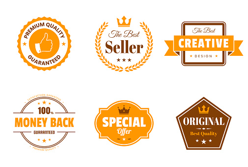 Set of 6 Orange badges and labels, isolated on white background (Premium Quality - Guaranteed, The Best Seller, Creative - The Best Design, Money Back - 100% Guaranteed, Special Offer, Original - Best Quality). Elements for your design, with space for your text. Vector Illustration (EPS10, well layered and grouped). Easy to edit, manipulate, resize or colorize.