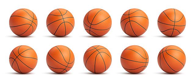 Set of orange basketball balls