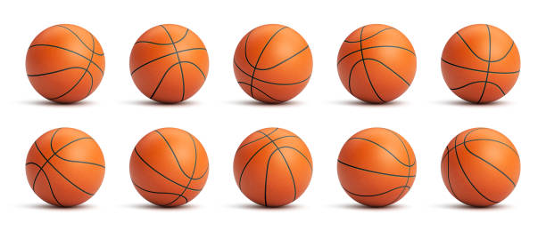 Set of orange basketball balls Set of orange basketball balls with leather texture in different positions basketball stock illustrations