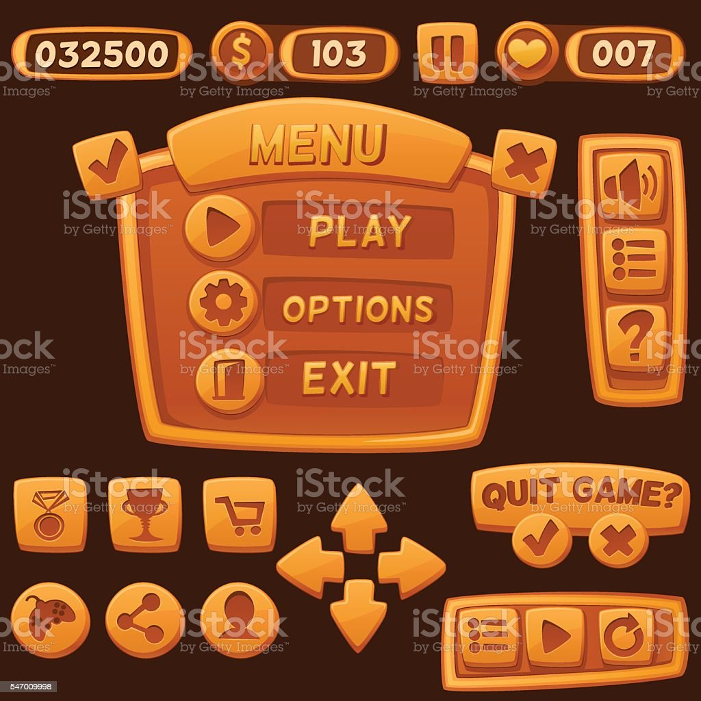 Set of orange cartoon buttons for casual games. vector art illustration